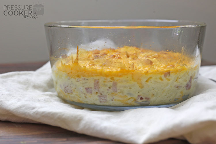 Instant Pot Breakfast Casserole with Eggs in clear Pyrex 7 cup bowl