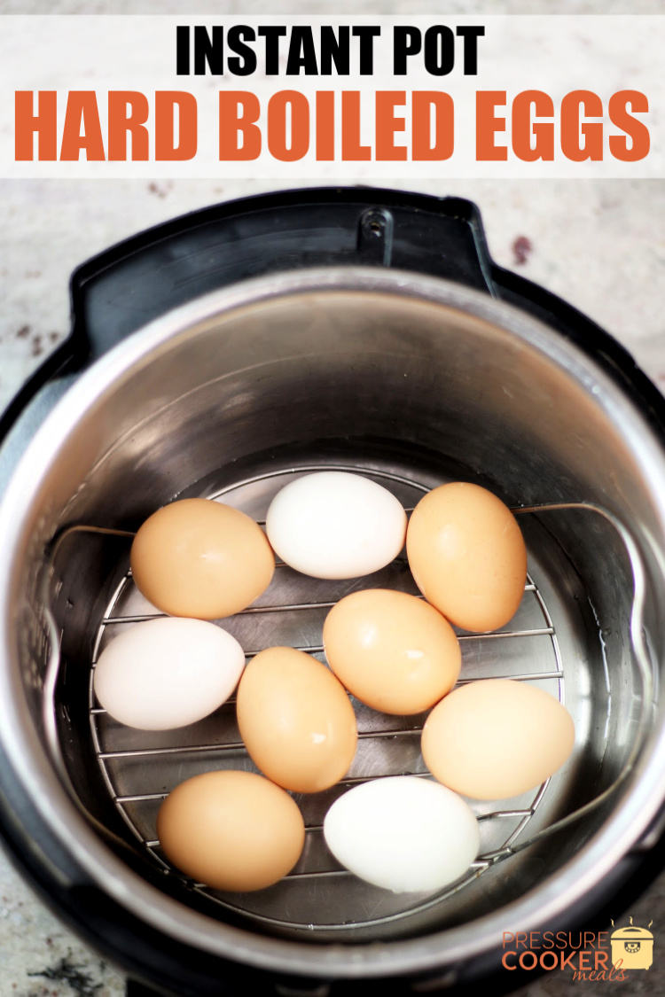 Instant Pot Hard Boiled Eggs in Instant Pot with text