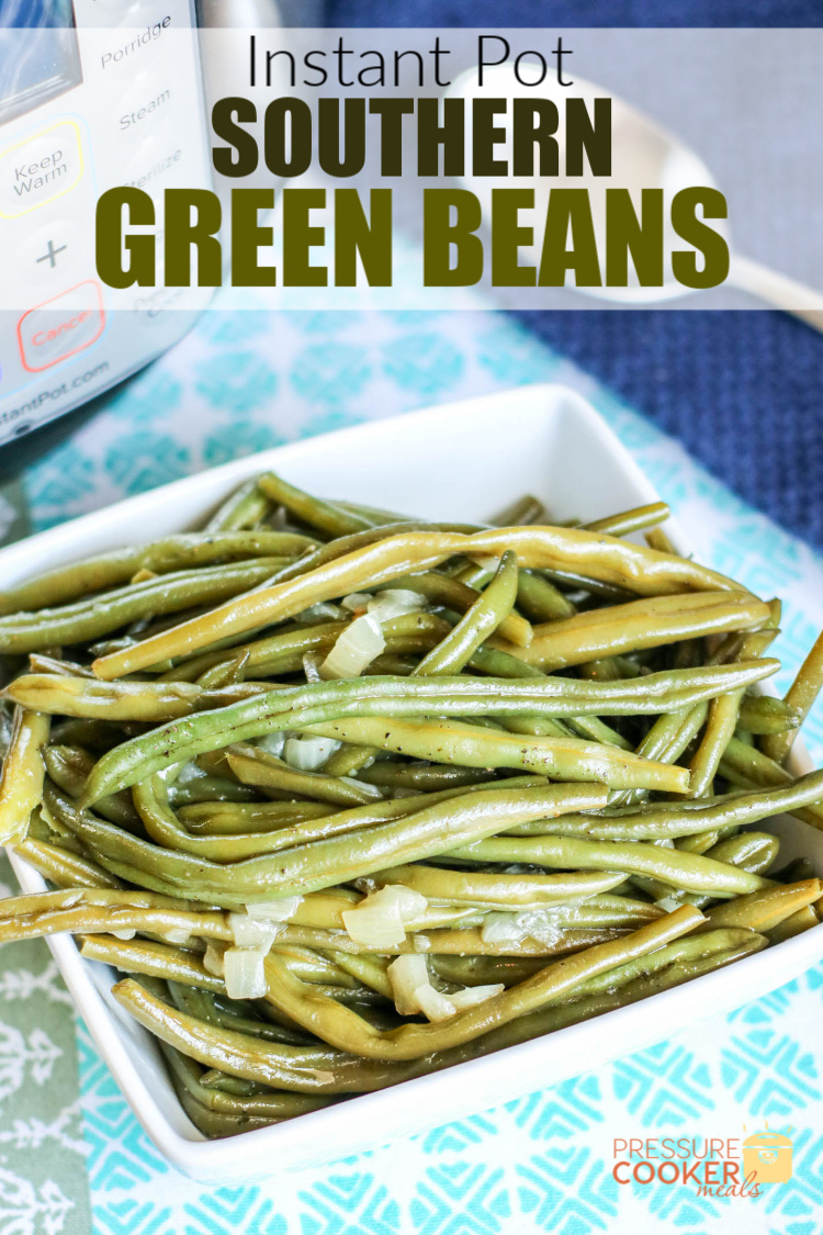 Instant Pot Southern Green Beans with bacon and onion in a white bowl on a blue placemat